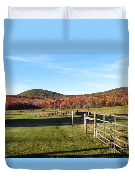 Country Farm And Family Plot Duvet Cover