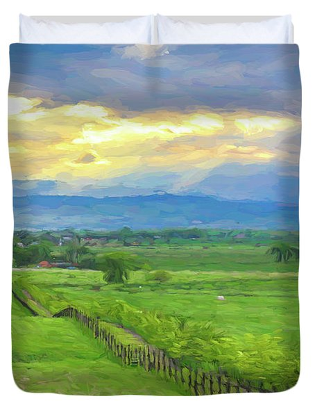 Country Fence To The Mountains Duvet Cover