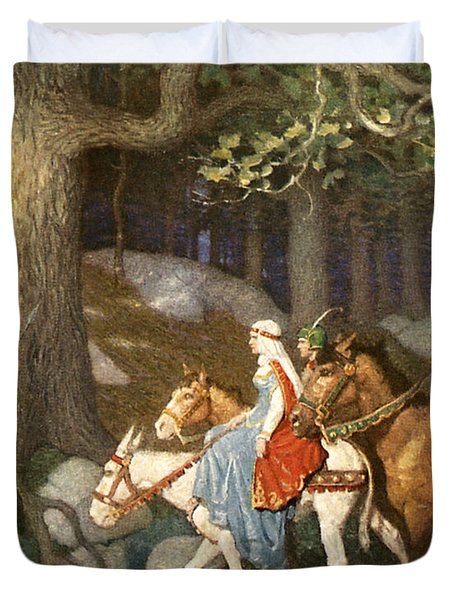 Country Folk Wending Their Way To The Tourney Duvet Cover by Newell Convers Wyeth
