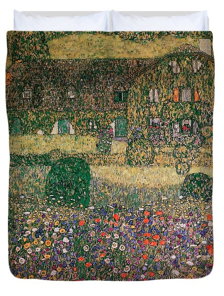 Country House By The Attersee Duvet Cover by Gustav Klimt