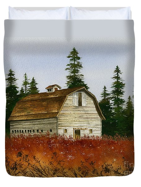 Duvet Cover featuring the painting Country Landscape by James Williamson