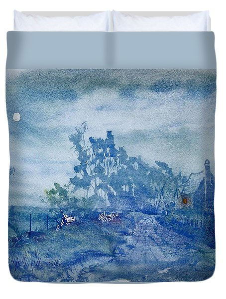 Country Lane By Moonlight Duvet Cover