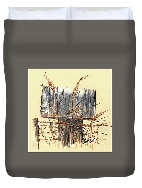 Country Mailbox In Colored Pencil Duvet Cover