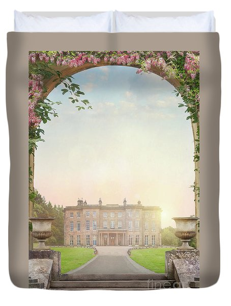 Country Mansion At Sunset Duvet Cover