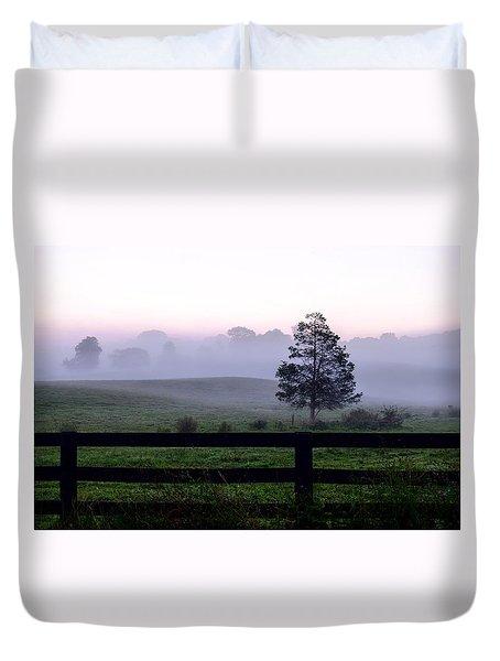 Country Morning Fog Duvet Cover