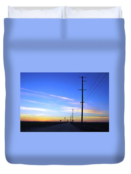 Duvet Cover featuring the photograph Country Open Road Sunset - Blue Sky by Matt Harang