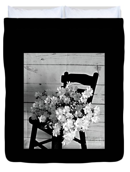 Country Porch In B And W Duvet Cover by Sherry Hallemeier