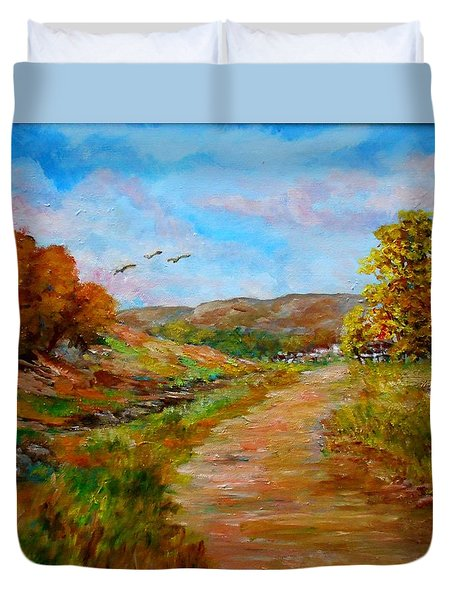 Country Road 2 Duvet Cover by Constantinos Charalampopoulos