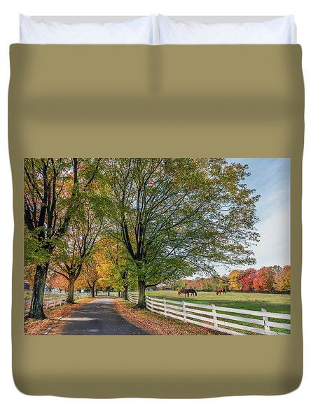 Country Road In Rural Maryland During Autumn Duvet Cover