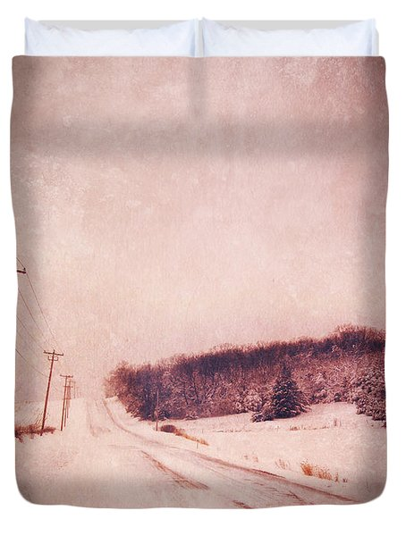 Country Road In Snow Duvet Cover by Jill Battaglia