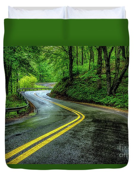 Country Road In Spring Rain Duvet Cover