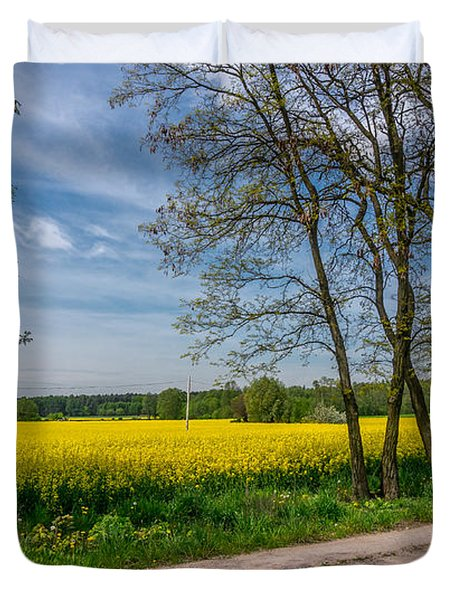 Country Road In The Rapeseed Field Duvet Cover