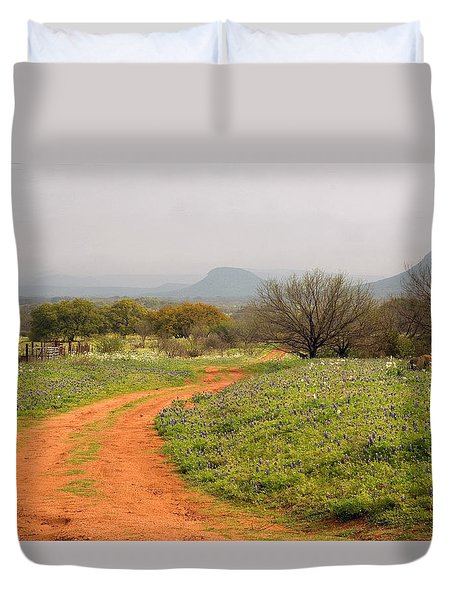 Country Road With Wild Flowers Duvet Cover