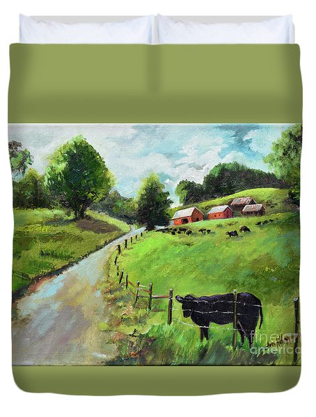 Duvet Cover featuring the painting Country Roads Of Georgia- Ellijay Rural Scene by Jan Dappen