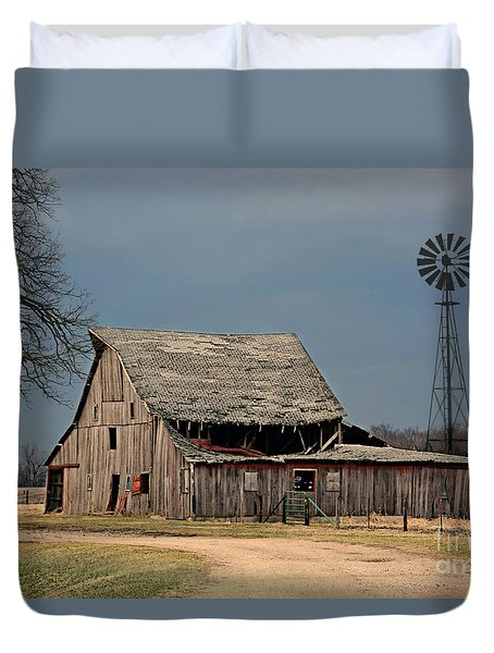 Country Roof Collapse Duvet Cover by Kathy M Krause