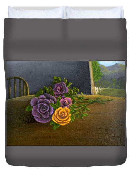 Country Roses Duvet Cover by Sheri Keith
