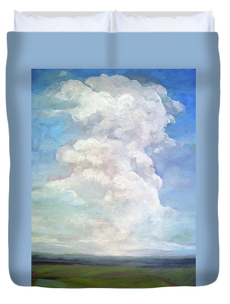 Duvet Cover featuring the painting Country Sky - Painting by Linda Apple