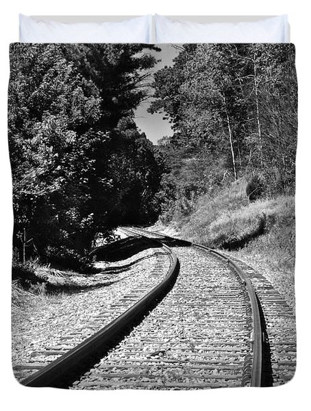 Country Tracks Black And White Duvet Cover by Mark Dodd