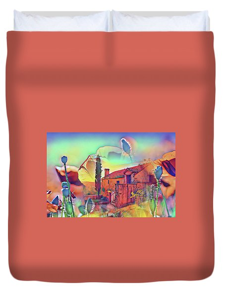 Country Villa Nestled In A Field Of Poppies Duvet Cover