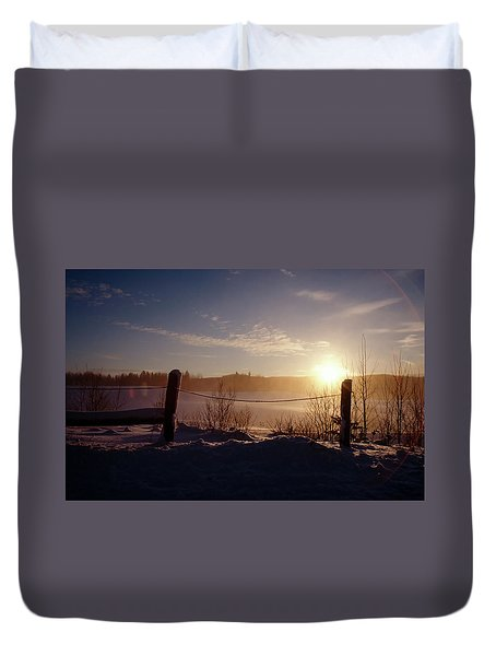 Country Winter Sunset Duvet Cover