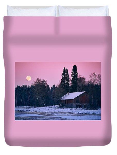 Countryside Full Moon Scenery Duvet Cover by Teemu Tretjakov