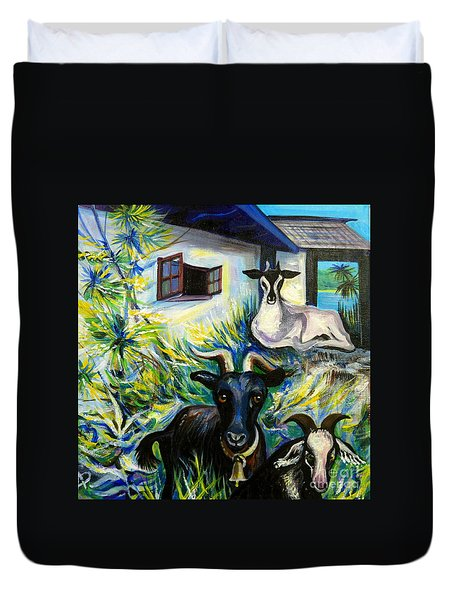 Countryside Of Jamaica Duvet Cover by Anna  Duyunova
