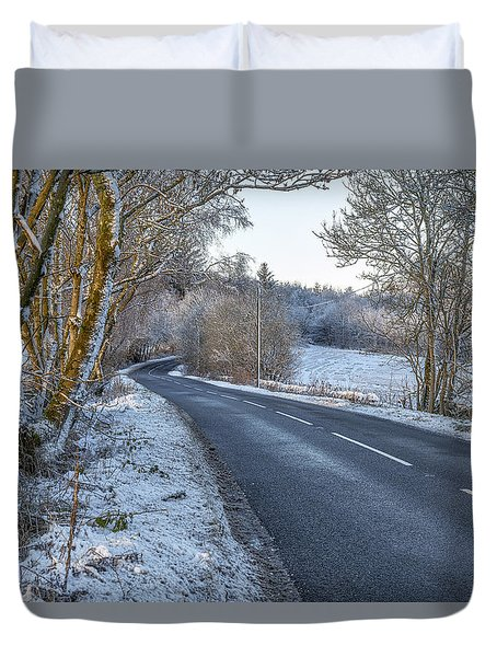 Countryside Road In Central Scotland Duvet Cover