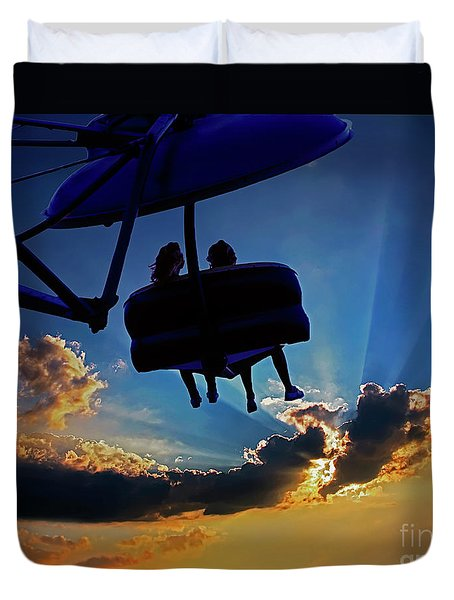 County Fair Amusement Ride Sunset 0401200016 Duvet Cover