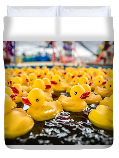 County Fair Rubber Duckies Duvet Cover by Todd Klassy
