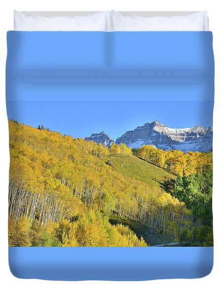 Duvet Cover featuring the photograph County Road 7 Fall Colors by Ray Mathis
