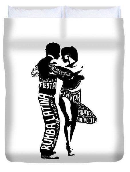 Couple Dancing Latin Music Duvet Cover