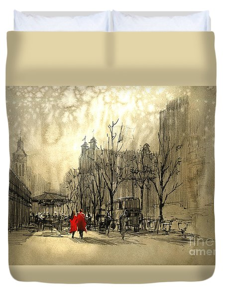 Couple In City Duvet Cover