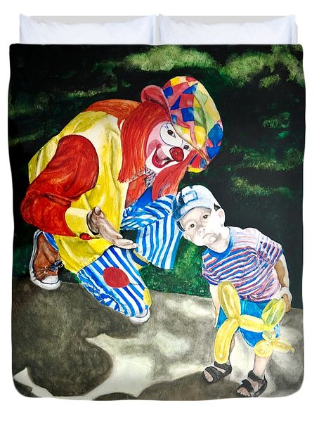 Couple Of Clowns Duvet Cover