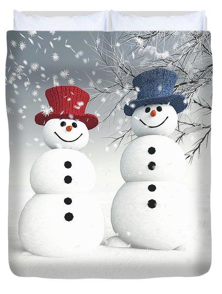 Couple Of Snowmen Duvet Cover