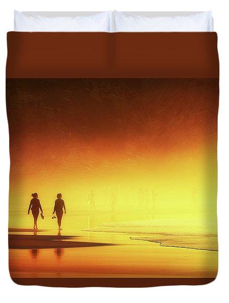 Couple Of Women Walking On Beach Duvet Cover