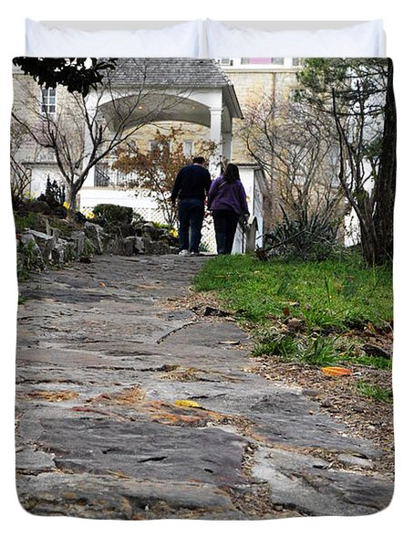 Couple On A Garden Path Duvet Cover