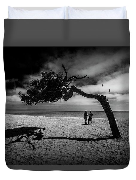 Duvet Cover featuring the photograph Couple On Cabrillo Beach By Los Angeles California by Randall Nyhof