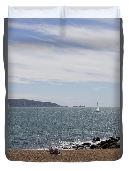 Couple Relaxing  Enjoying The View Duvet Cover by Gillian Dernie