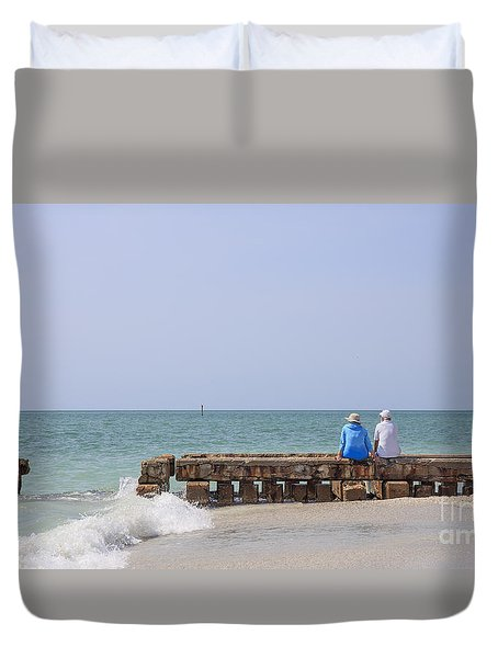 Couple Sitting On An Old Jetty Siesta Key Beach Florida Duvet Cover by Edward Fielding
