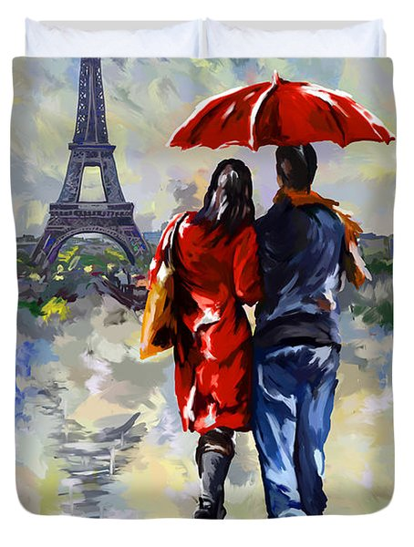 couple walking in the rain Paris Duvet Cover by Tim Gilliland