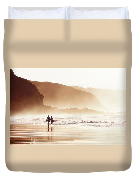 Couple Walking On Beach With Fog Duvet Cover
