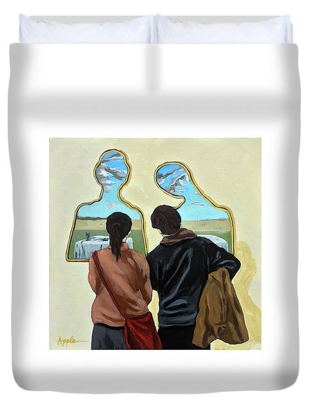 Couple With Their Heads Full Of Clouds Duvet Cover