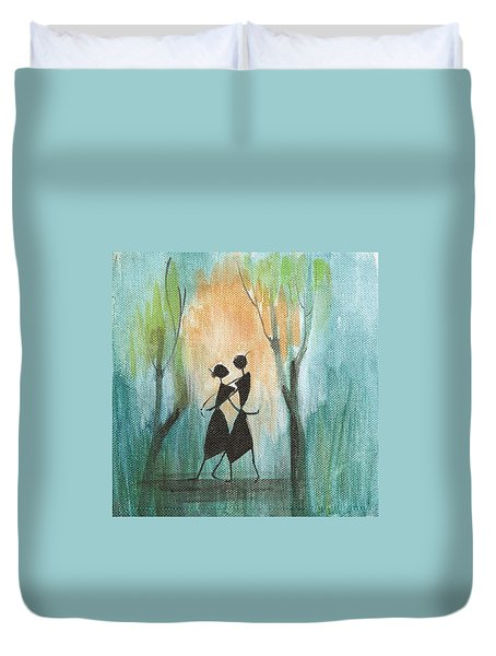 Couples Delight Duvet Cover by Chintaman Rudra