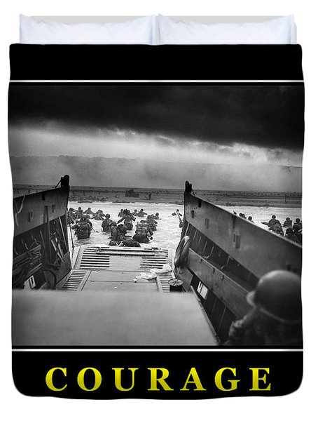 Courage -- D Day Poster Duvet Cover