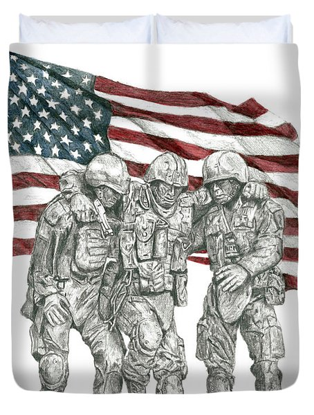 Courage In Brotherhood Duvet Cover