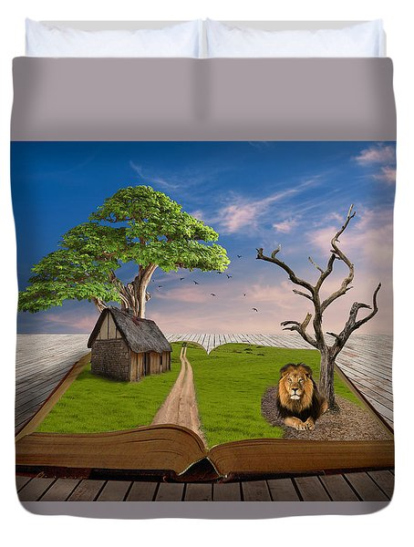 Duvet Cover featuring the mixed media Courageous by Marvin Blaine