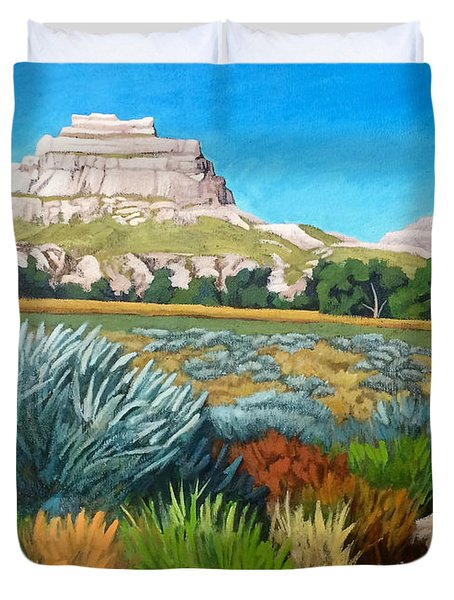 Courthouse And Jail Rocks Acrylic Duvet Cover