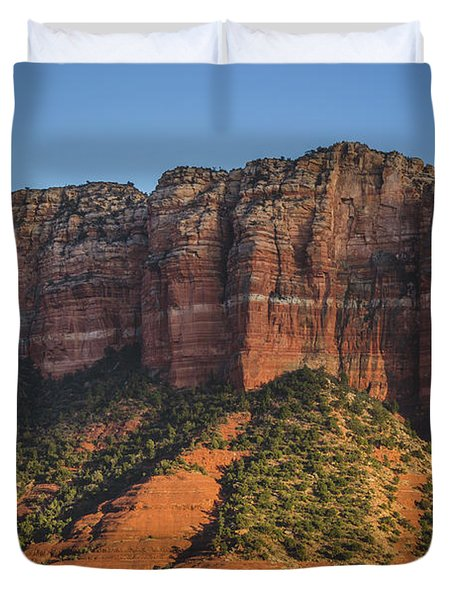 Courthouse Butte At Sunset Duvet Cover