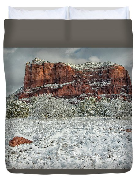 Courthouse In Winter Duvet Cover