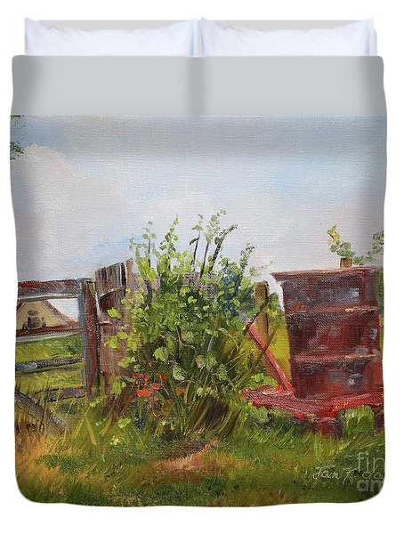 Duvet Cover featuring the painting Courtney's Gate - Chateau Meichtry Vineyard - Red Barrel by Jan Dappen